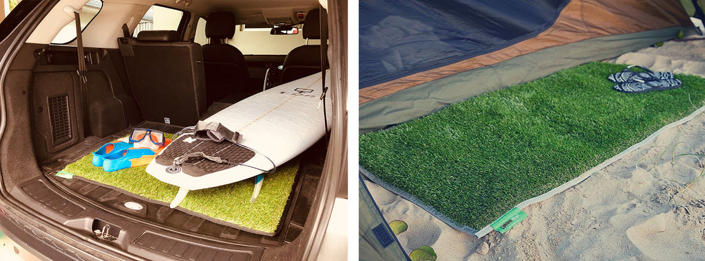 Split images. First image of surfboard and snorkel gear on top of sand free beach mat in the boot of a car. Second image of sand free beach mat laid outside tent on sand with a pair of thongs on top.