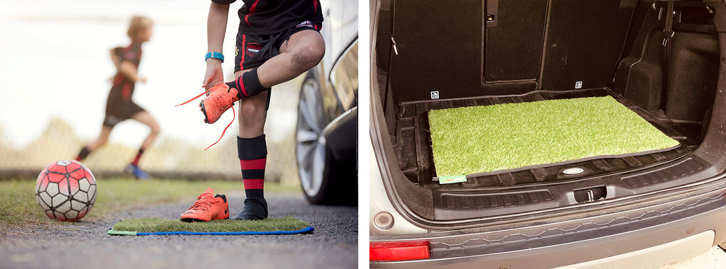 Split images. First image of young boy standing on car mat removing his muddy football shoes next to the car. Second image of car mat laid down in the boot of a car.
