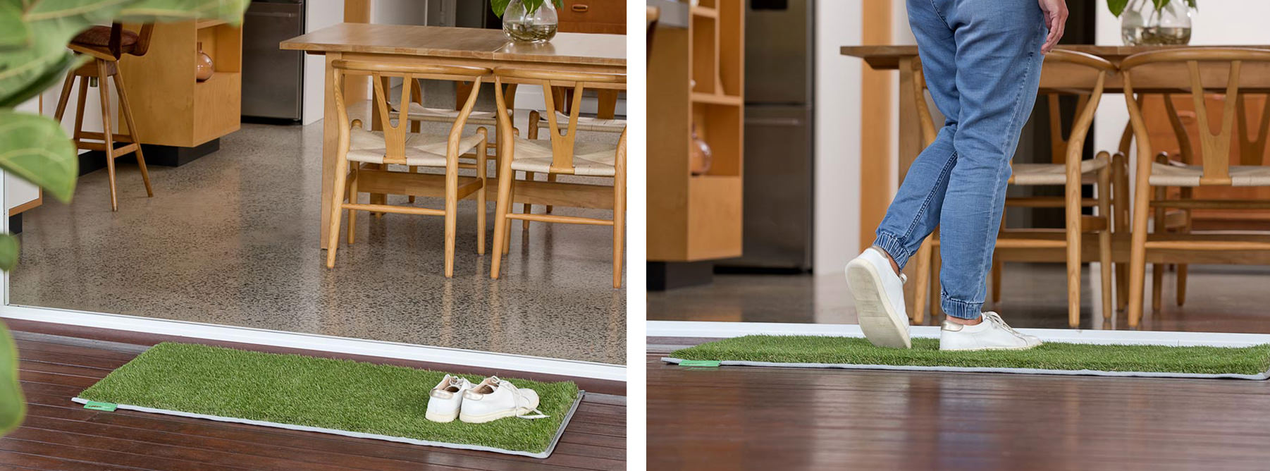 Split images. First image of synthetic grass door mat with a pair of white sneakers on top placed just outside of a home. Second image of woman using the synthetic grass door mat to wipe her feet before entering the home.