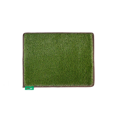 Original artificial grass mat in Earth Brown trim.