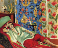 Homage to Matisse collection needlepoint tapestry inspired by Odalisque in Red. Contemporary designs by unwind studio: art & craft to help you unwind.