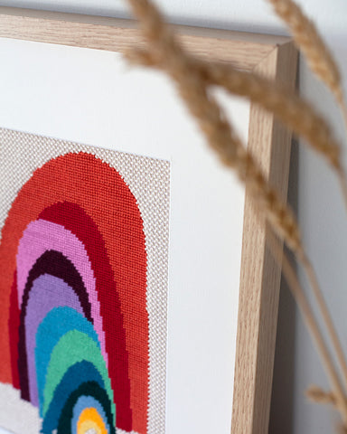 framed needlepoint gallery frame with mat