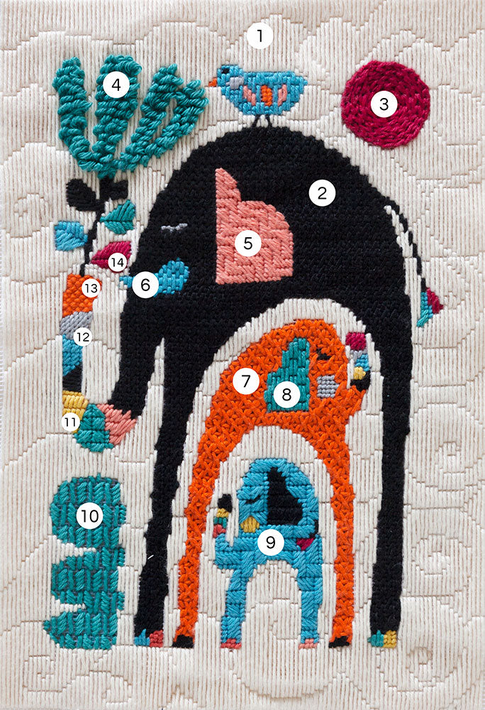 stitch guide of needlepoint canvas with illustration of elephants