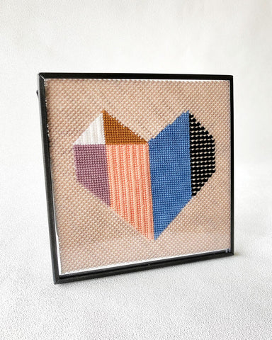 origami heart needlepoint and frame