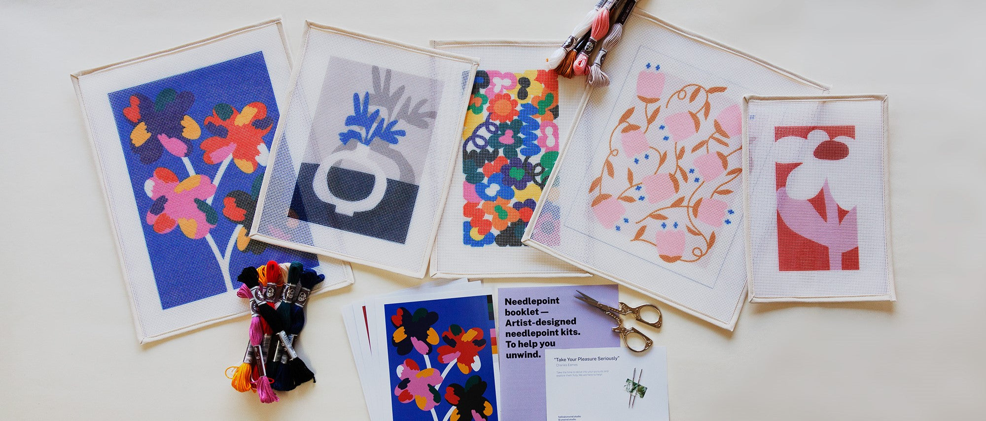 New In Summer Needlepoint Kits by Unwind Studio. Fun and contemporary craft kits to bring you joy and mindfulness