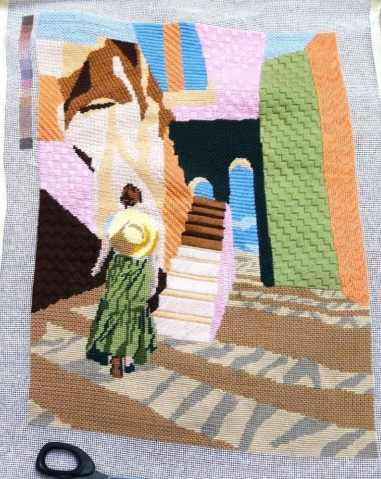 Woman Summer Walk needlepoint kit tapestry kit designed by Charlie Bennell for unwind studio. Contemporary needlepoint canvas.