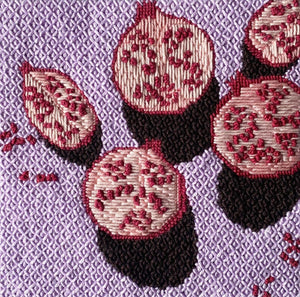 Still Pomegranates unwind studio needlepoint tapestry letter & brush