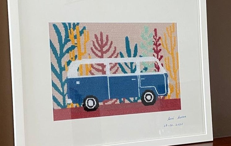 VW Travel Van needlepoint tapestry canvas and kit