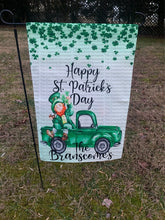 Load image into Gallery viewer, Personalized Happy St. Patrick's Day Double Sided Leprechaun Vintage Truck Garden Flag