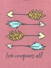 Load image into Gallery viewer, Mauve Love Conquers All Arrow Design Tee Shirt