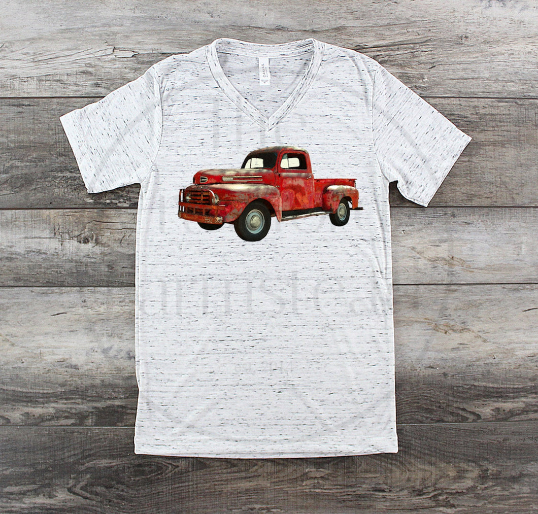 Weathered Red Truck Shirt, Antique Red Truck T-Shirt, Rustic Tee, Country Tee, Valentine's Day Shirt, Adult, Women's, Men's, Graphic Tee MTO
