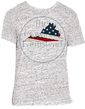 Load image into Gallery viewer, Virginia T-Shirt, Virginia Lace T-Shirt, Lace Tee, Virginia is For Lovers, VA, Virginia, American Flag Tee, USA Flag Tee, Patriotic T-Shirt