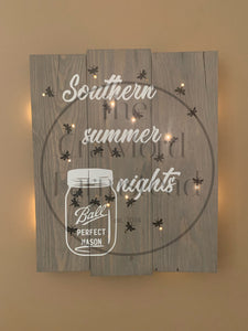 Southern Summer Nights Sign, Lightning Bugs, Mason Jar Sign, Light Sign, Firefly Sign, Fireflies Sign, Sign With Lights, Twinkling Lights