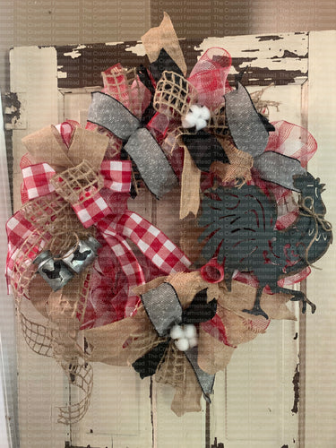 Red & White Buffalo Check and Burlap Rooster Wreath