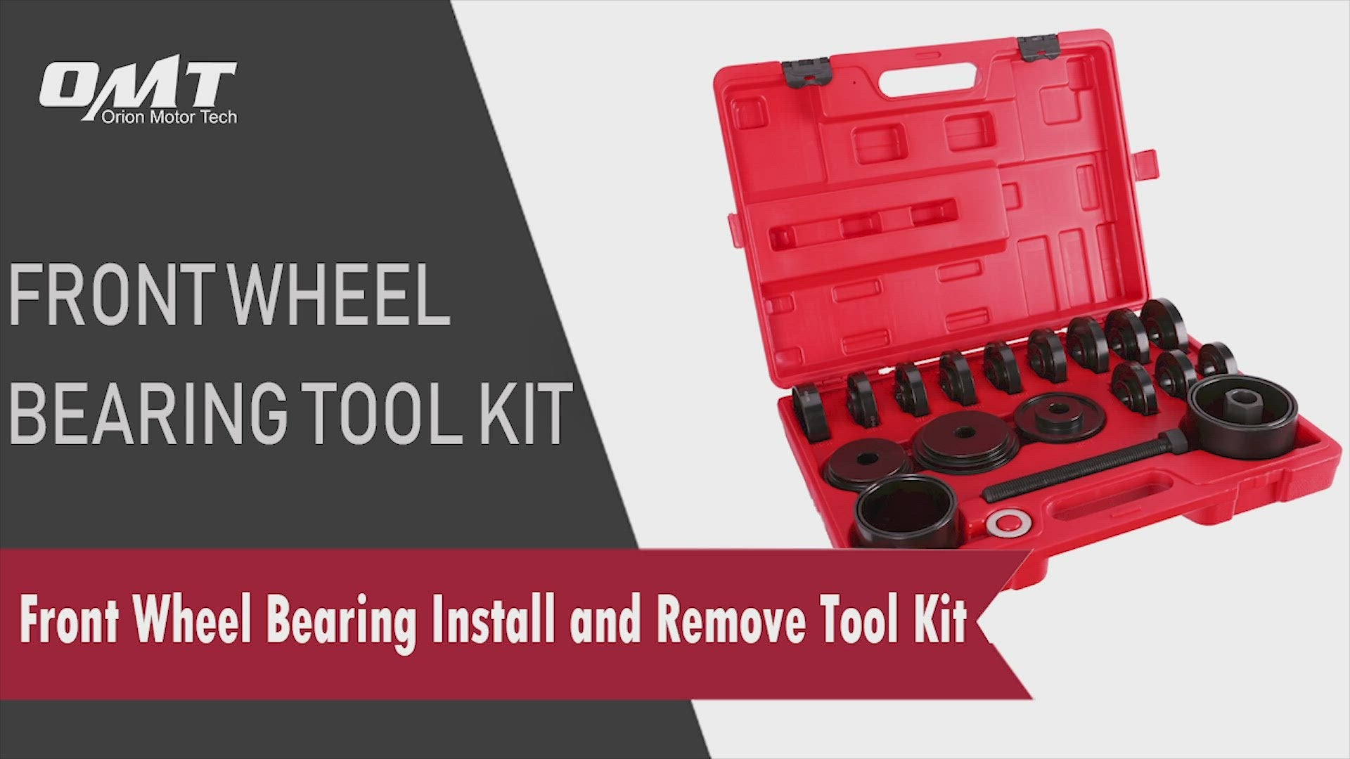 23-Piece Front Wheel Drive Bearing Removal Kit, Adapter Puller Press Replacement Tools with Portable Carrying Case, Steel Construction