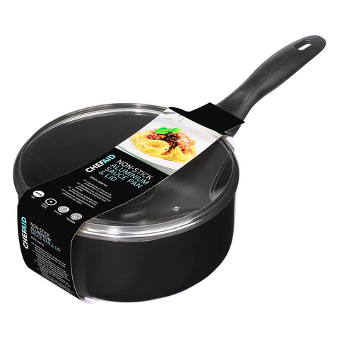 Chef Aid 18cm Non-stick Sauce pan and glass Lid