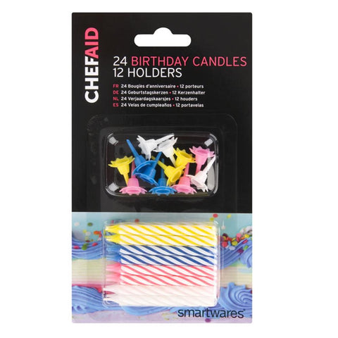 Chef Aid 24 Birthday Candles And 12 Holders
