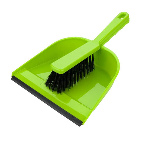 Elliotts Dustpan & Brush Set Green Stiff