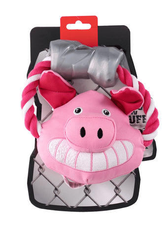 Ruff and Tuff 202132 CanvasRope & TPR Rubber Toy - Pig
