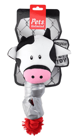 Ruff and Tuff 202136 Canvas  Rope & TPR Rubber Toy - Cow Head