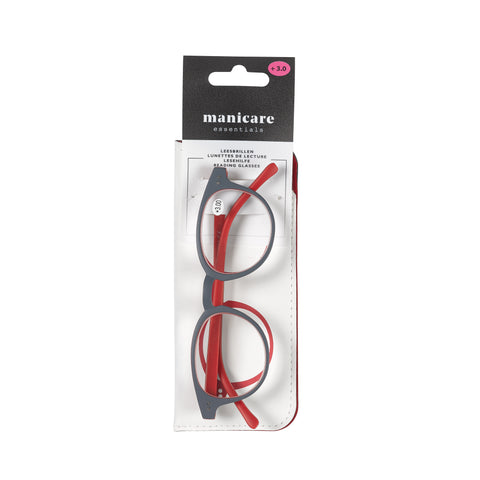 Manicare Reading Glasses +2 Rounded Red/Grey