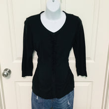 Load image into Gallery viewer, Black Cardigan Maternity Sweater Size Large Oh Baby