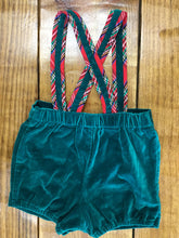 Load image into Gallery viewer, Velvet Shorts With Suspenders Size 6-9 M
