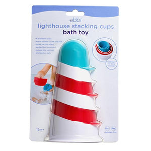 Ubbi Lighthouse Bath toy stacking cups