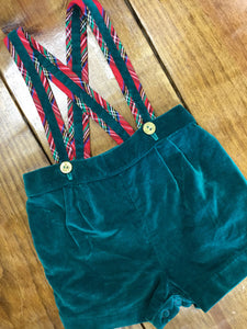 Velvet Shorts With Suspenders Size 6-9 M