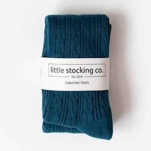 Cable Knit Tights 3yr - 4yr Teal