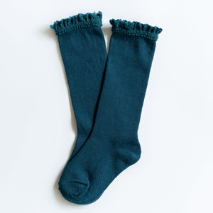 Knee High Socks Lace Top 4yr - 6yr Teal