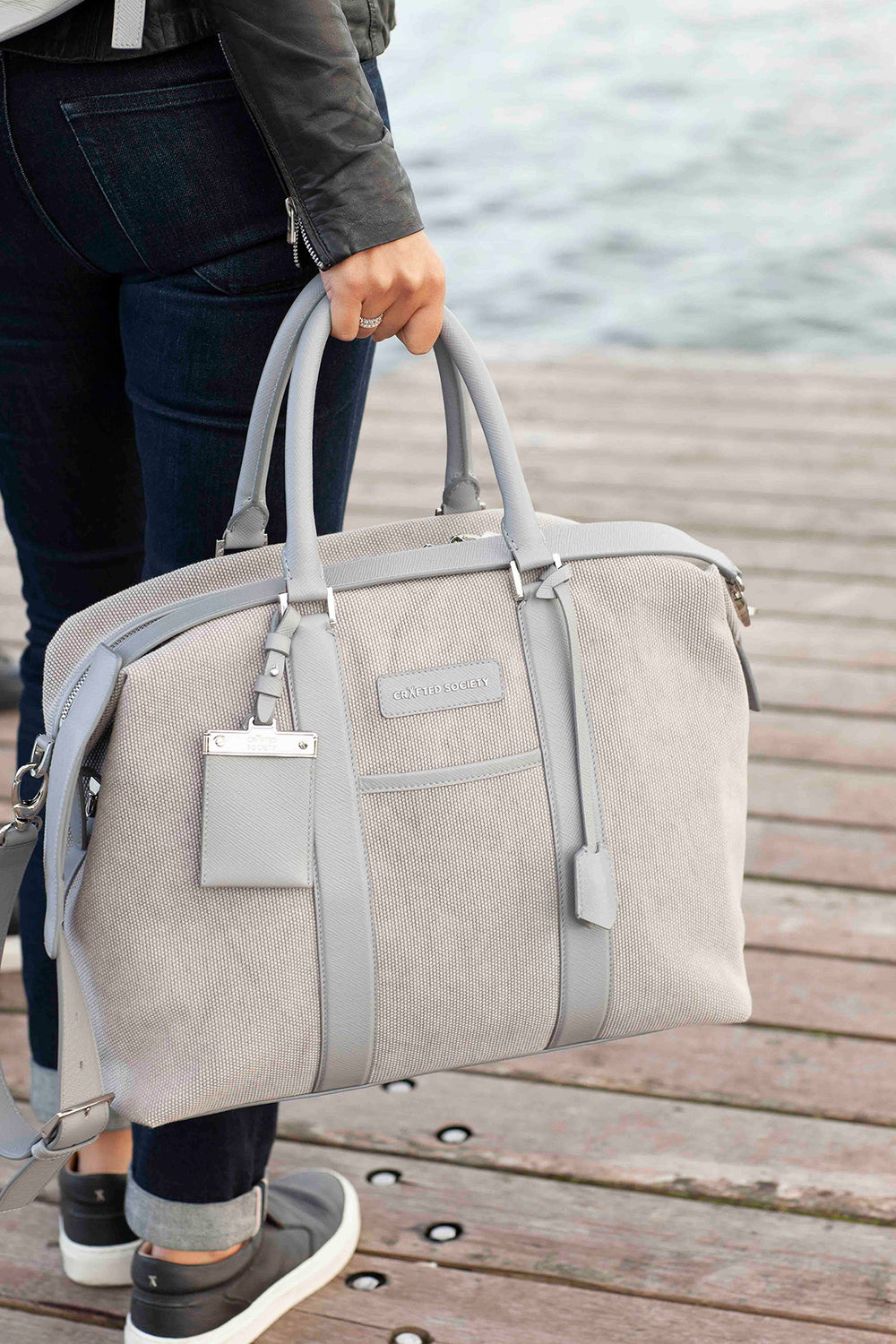 Italian Leather Weekender Bag Grey 100% Leather