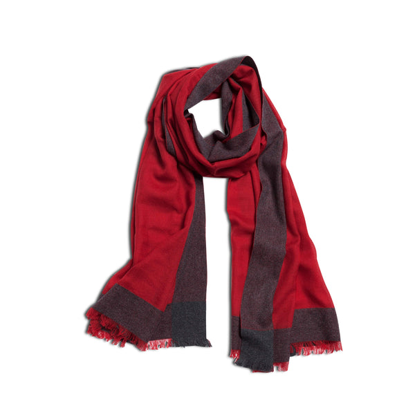 Aldo Geometric Cashmere Scarf – Red & Anthracite