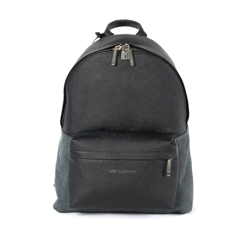 Astin Backpack Black Saffiano Leather Frontview