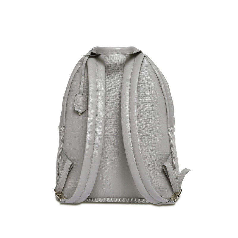 Astin Backpack - Light Grey Saffiano Leather - Handcrafted in Italy