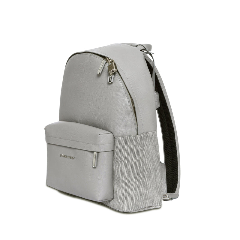 Astin Backpack - Light Grey Saffiano Leather