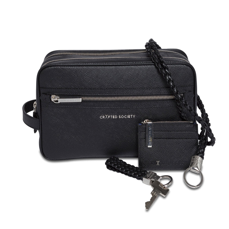 Mauro Lanyard - Black Saffiano Leather