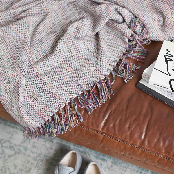 Albertina Throw - White Multi 100% Cashmere