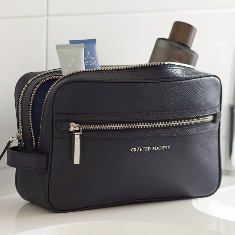 Edy Washbag - Navy Saffiano Leather - Handcrafted in Italy