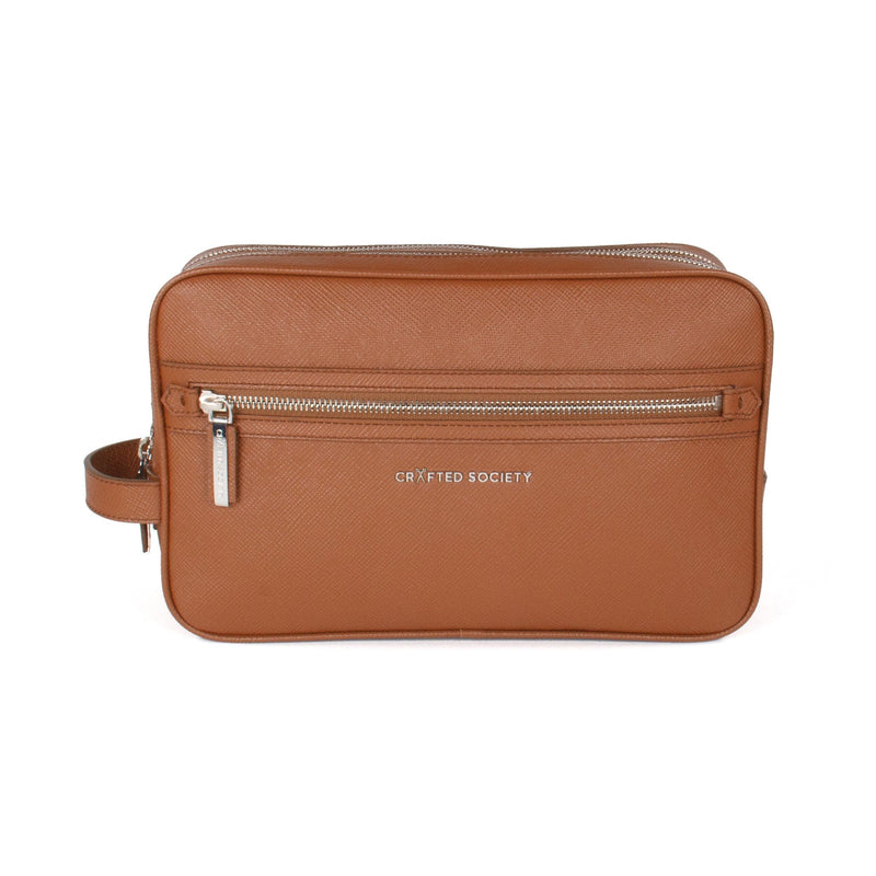 Edy Washbag Italian Camel Saffiano Leather