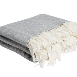 Herringbone Throw - White & Grey Hand knotted Cashmere