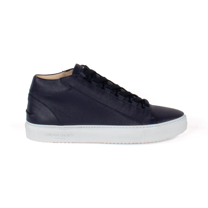 Rico Mid Sneaker Navy Saffiano Leather White Outsole Sideview