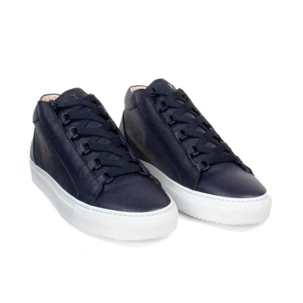 Rico Mid Sneaker Navy Saffiano Leather White Outsole Frontview