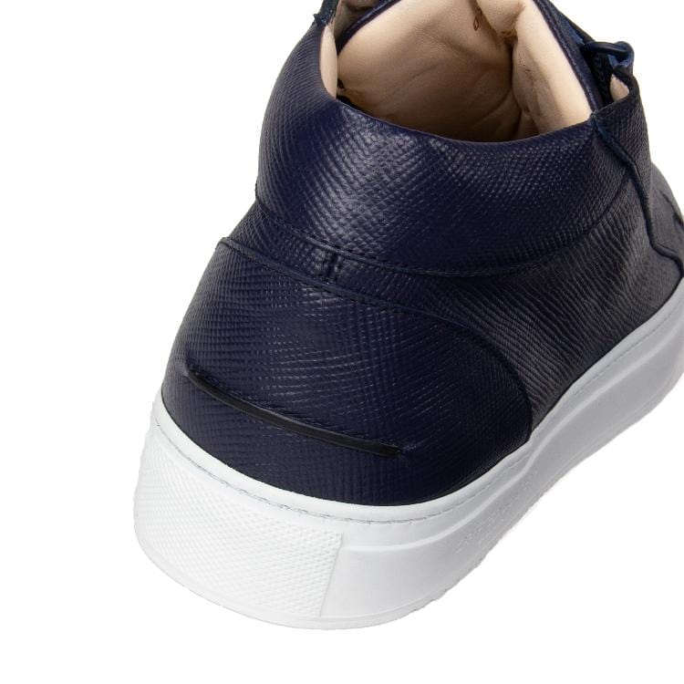 Rico Mid Sneaker Navy Saffiano Leather White Outsole Backview