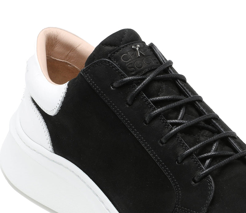 Matteo Low Sneaker - Black Nubuck & White Full Grain Leather / White Outsole - Handcrafted in Italy