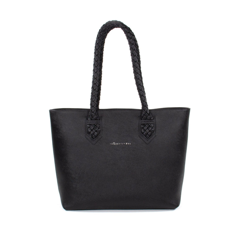 Luisa Tote Black Saffiano Leather Sideview
