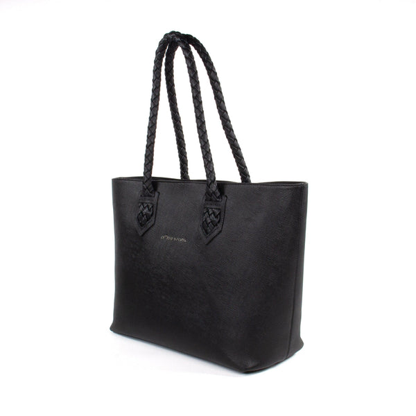 Luisa Tote Black Italian Saffiano Leather