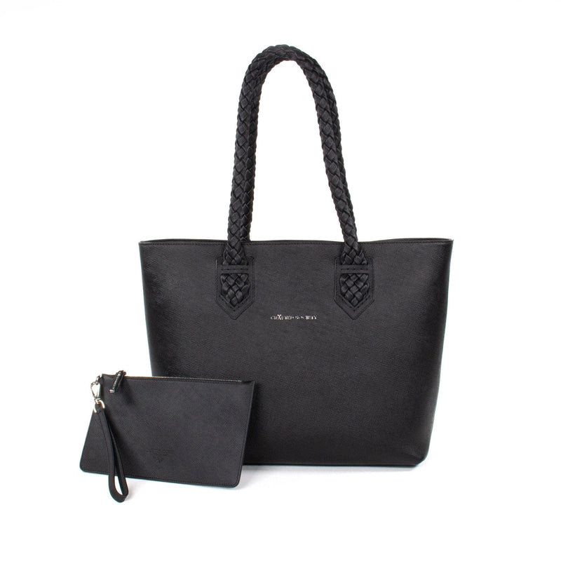 Luisa Tote Black Saffiano Leather with Leather Pouch Sideview