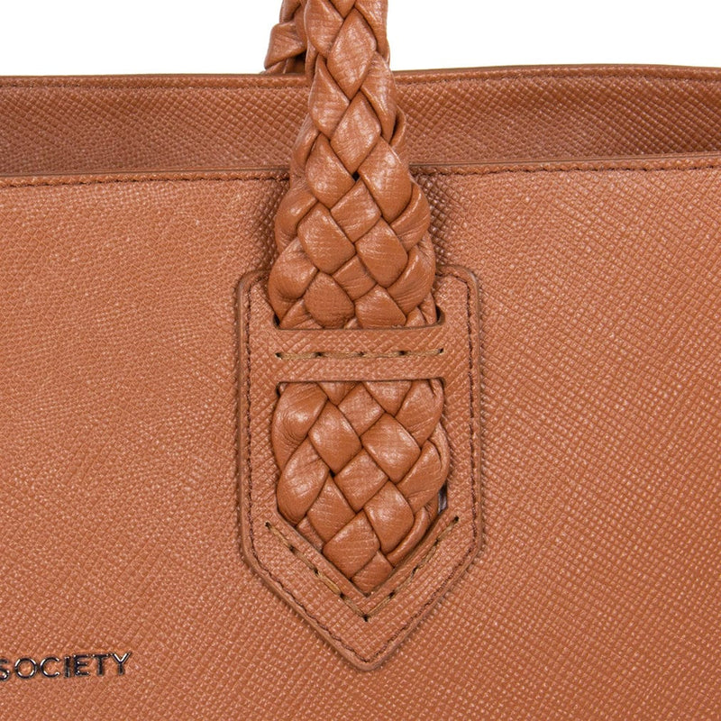 Luisa Tote Camel Italian Saffiano Leather Detailview