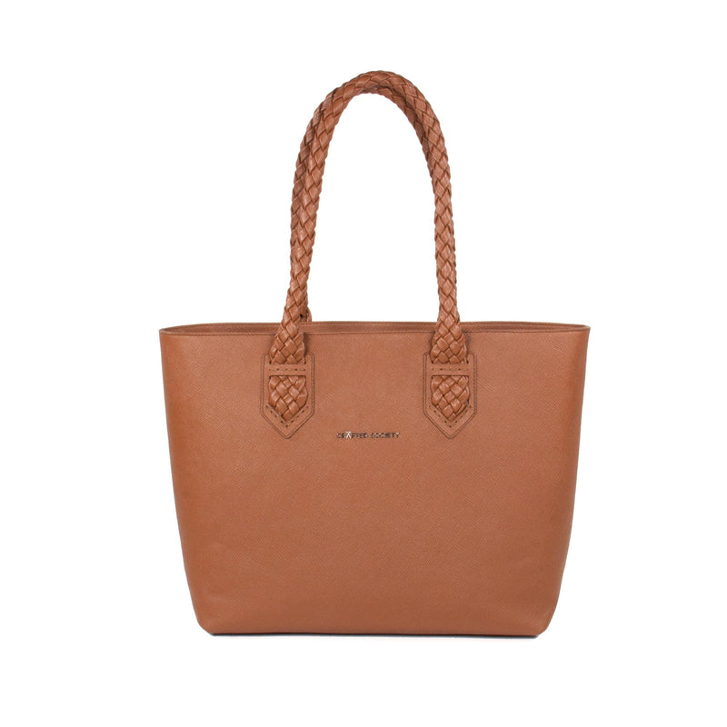Luisa Tote Camel Italian Saffiano Leather Sideview